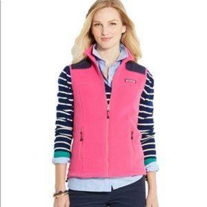 Vineyard Vines Westerly Fleece Vest Pink Navy Sm